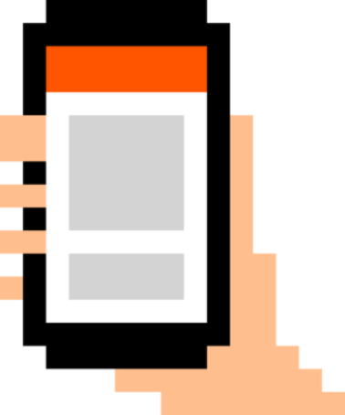 original pixel art illustration of a hand holding a smart phone